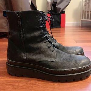 Men's Vince Black Leather Edgar boots toe 10M